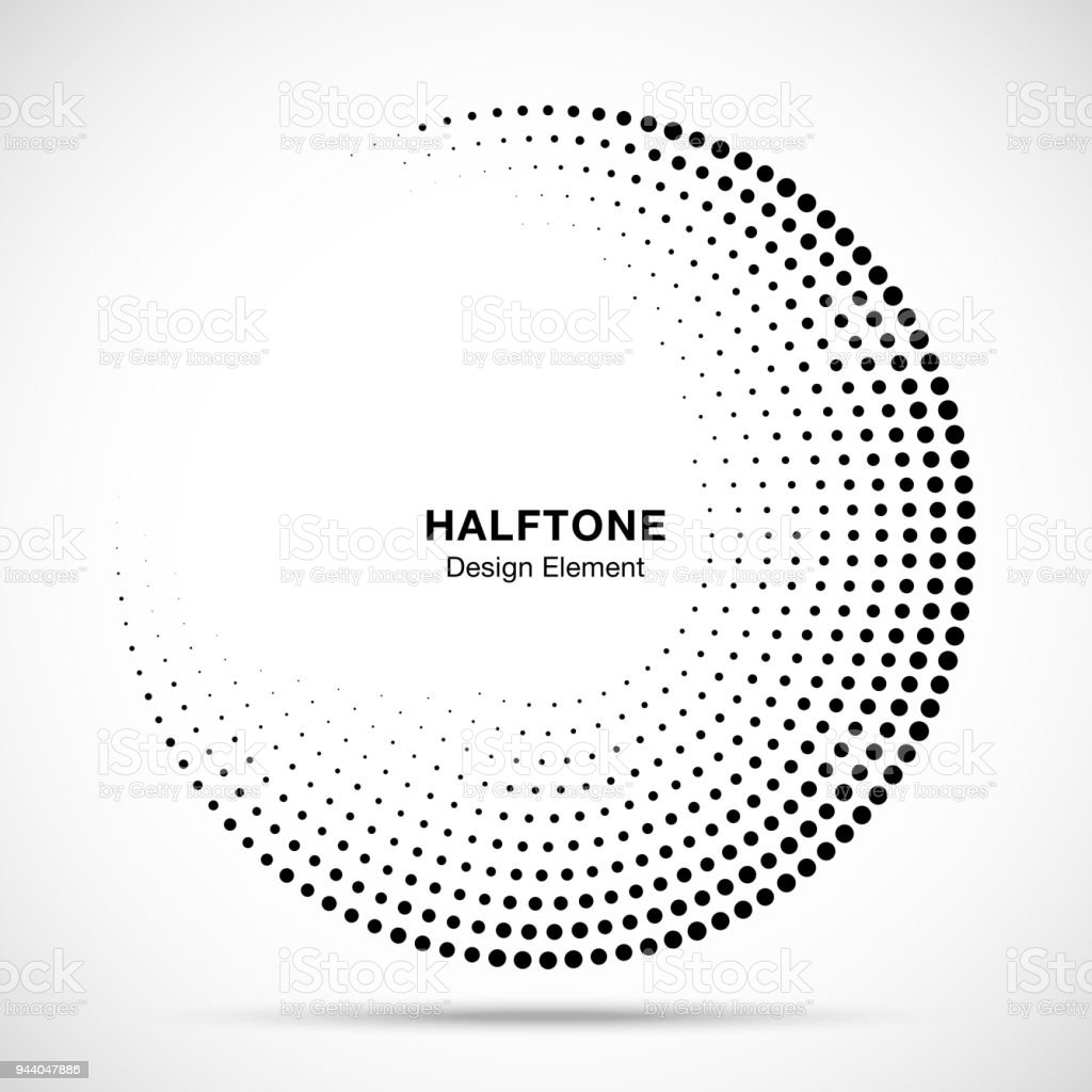 Halftone circle frame abstract dots logo emblem design element for medical, treatment, cosmetic. Round border Icon using halftone circle dots raster texture. Vector illustration. royalty-free halftone circle frame abstract dots logo emblem design element for medical treatment cosmetic round border icon using halftone circle dots raster texture vector illustration stock illustration - download image now