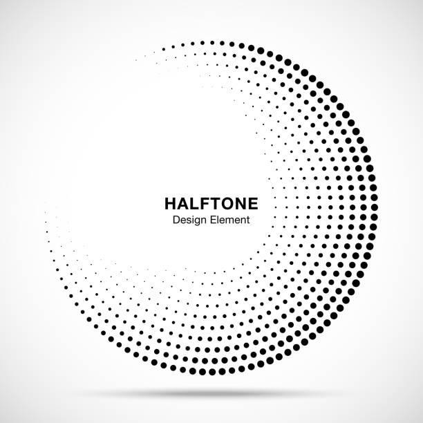 ハーフトーン サークル フレーム抽象ドット ロゴ エンブレム デザインの要素医療、治療、化粧品。国境ラウンド ハーフトーン サークルを使用してアイコンのラスター テクスチャをドットします。ベクトルの図。 - 円形点のイラスト素材/クリップアート素材/マンガ素材/アイコン素材