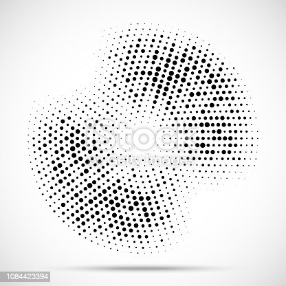 Halftone circle frame dotted background. Round border Icon using halftone random circle dots raster texture. Grunge circular stain. Vector illustration.