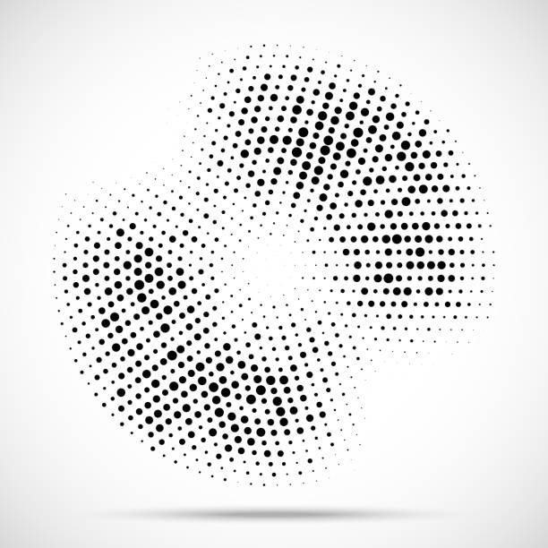 halftone circle frame dotted background. round border icon using halftone random circle dots raster texture. grunge circular stain. vector illustration. - графический элемент stock illustrations