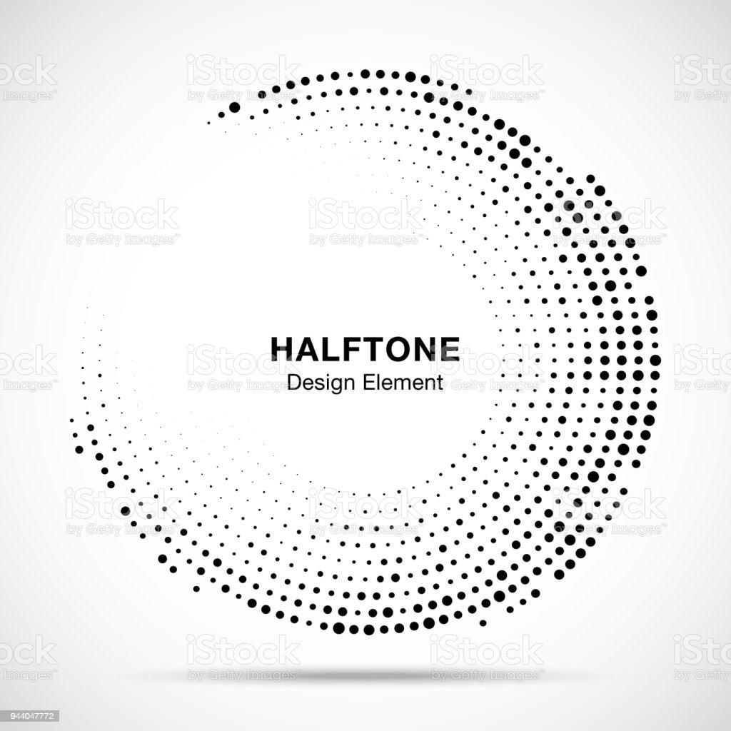 Halftone Circle Frame With Black Abstract Random Dots Logo Emblem ...