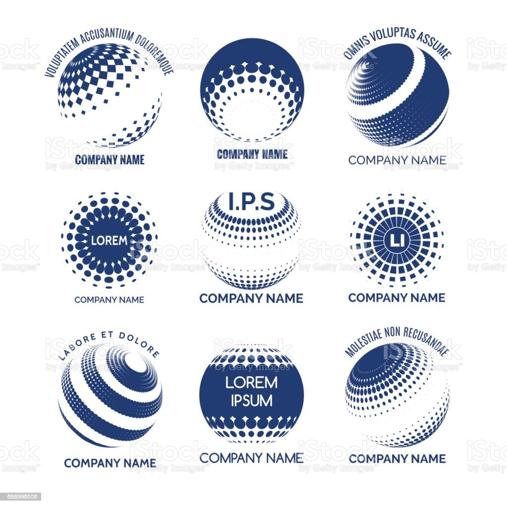 Tono medio círculos esferas para las marcas de tecnología - ilustración de arte vectorial