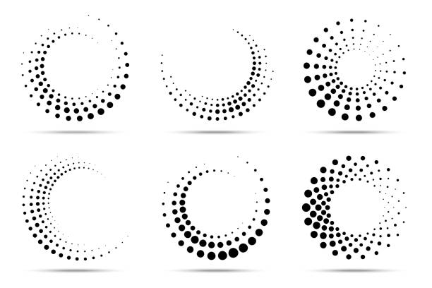 Halftone circular dotted frames set. Circle dots isolated on the white background. Logo design element for medical, treatment, cosmetic. Round border using halftone circle dots texture. Vector Halftone circular dotted frames set. Circle dots isolated on the white background. Logo design element for medical, treatment, cosmetic. Round border using halftone circle dots texture. Vector backgrounds icons stock illustrations