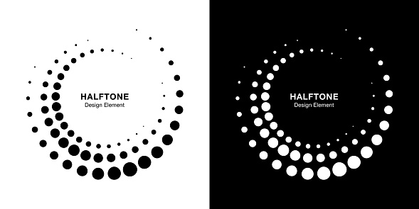 Halftone circular dotted frames set. Circle dots isolated on the white background. Logo design element for medical, treatment, cosmetic. Round border using halftone circle dots texture. Vector bw.