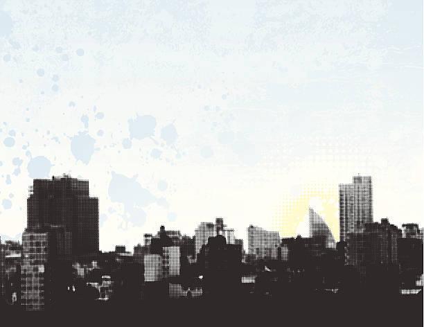 Halftone Cityscape. vector art illustration