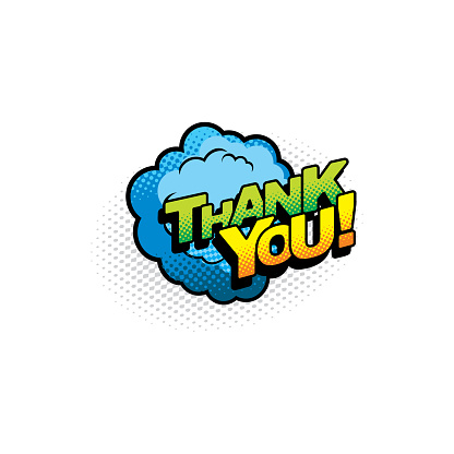 Halftone cloud thank you speech bubble isolated