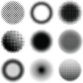 Vector illustration. Set of 9 halftone design elements.