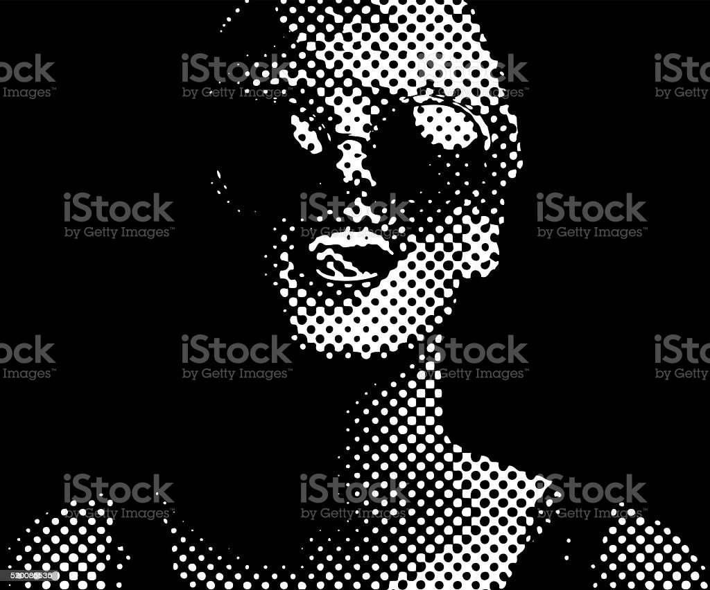 Halftone Dot Pattern Portrait of a Vibrant, happy woman vector art illustration