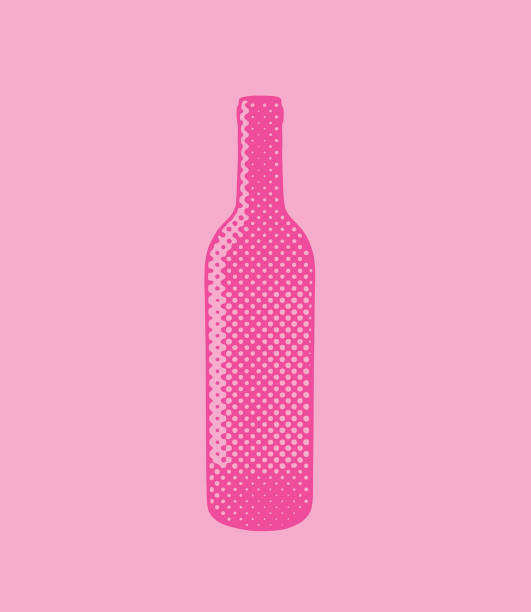 halftone dot wine bottle - butelka wina stock illustrations