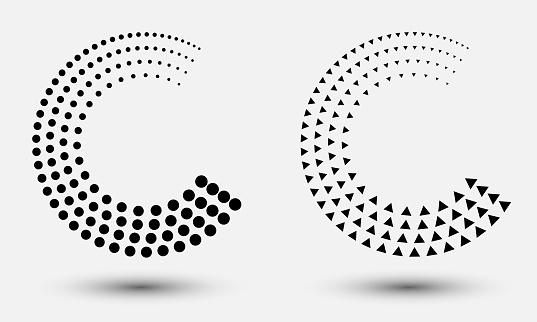 halftone dots and triangles abstract background like letter C