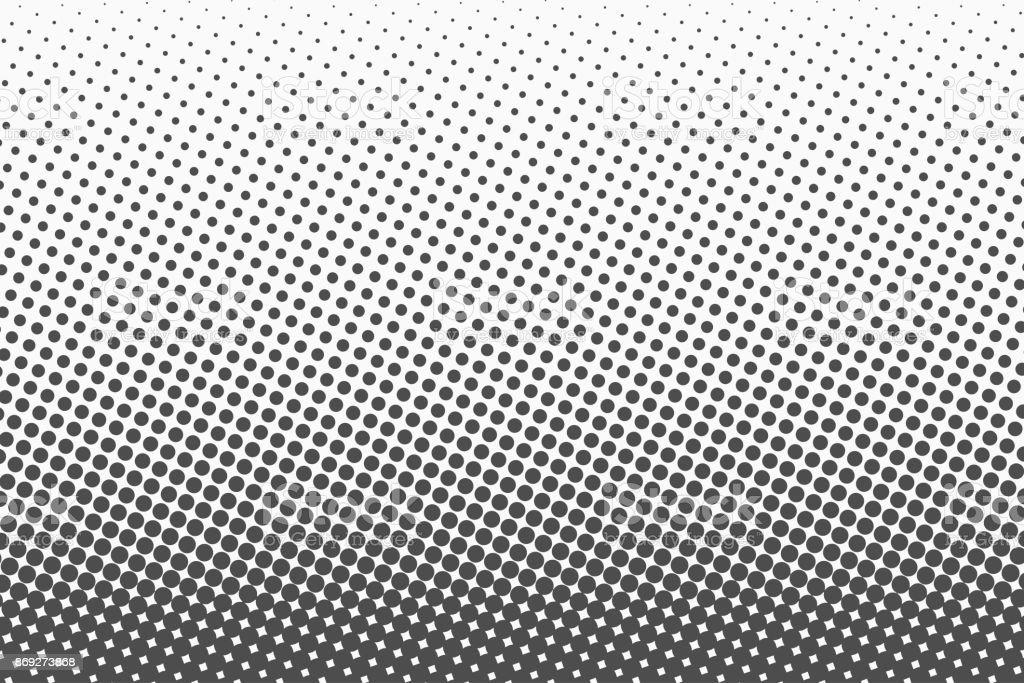 Halftone dots. Monochrome vector texture background for prepress, DTP, comics, poster. Pop art style template – artystyczna grafika wektorowa
