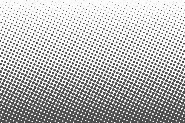 halftone dots. monochrome vector texture background for prepress, dtp, comics, poster. pop art style template - spotted stock illustrations