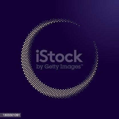 istock Halftone dots moon illustration as icon or logo. 1303301091