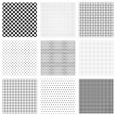 Halftone dots seamless pattern set