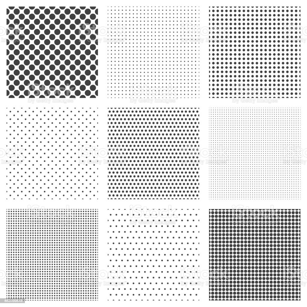 Halftone dots seamless pattern set vector art illustration