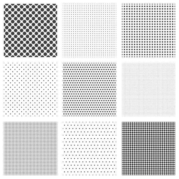 halftone dots seamless pattern set - half tone stock illustrations, clip art, cartoons, & icons