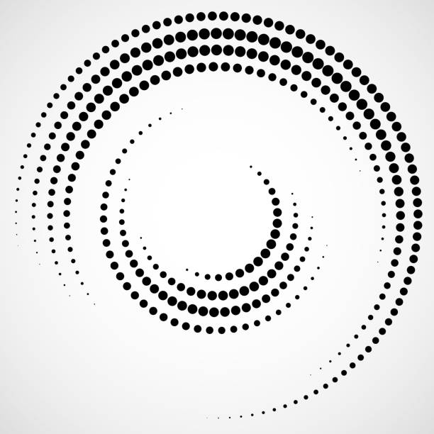 Halftone dotted background in circle form Dots, Abstract, Black, Halftone effect, Background blurred motion stock illustrations