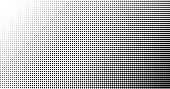 Halftone effect vector background. Spotted grunge pattern. Dark corner