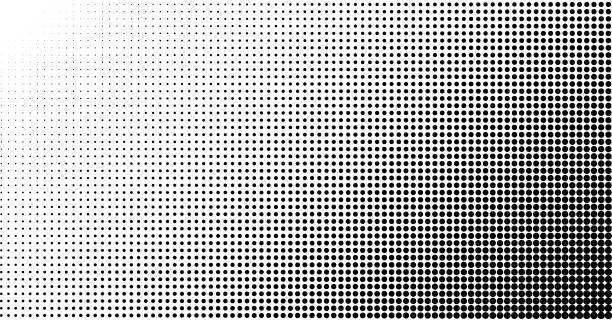 illustrazioni stock, clip art, cartoni animati e icone di tendenza di halftone effect vector background. spotted grunge pattern. dark corner - gradazione mezzo tono