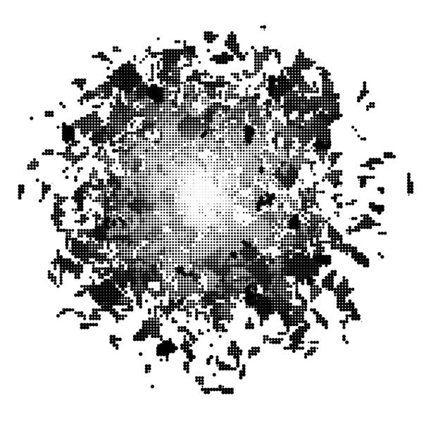 Halftone Explode Flash, Dotted Cartoon Explosion, Star Burst. Sharp Particles Fly in the Air. vector art illustration