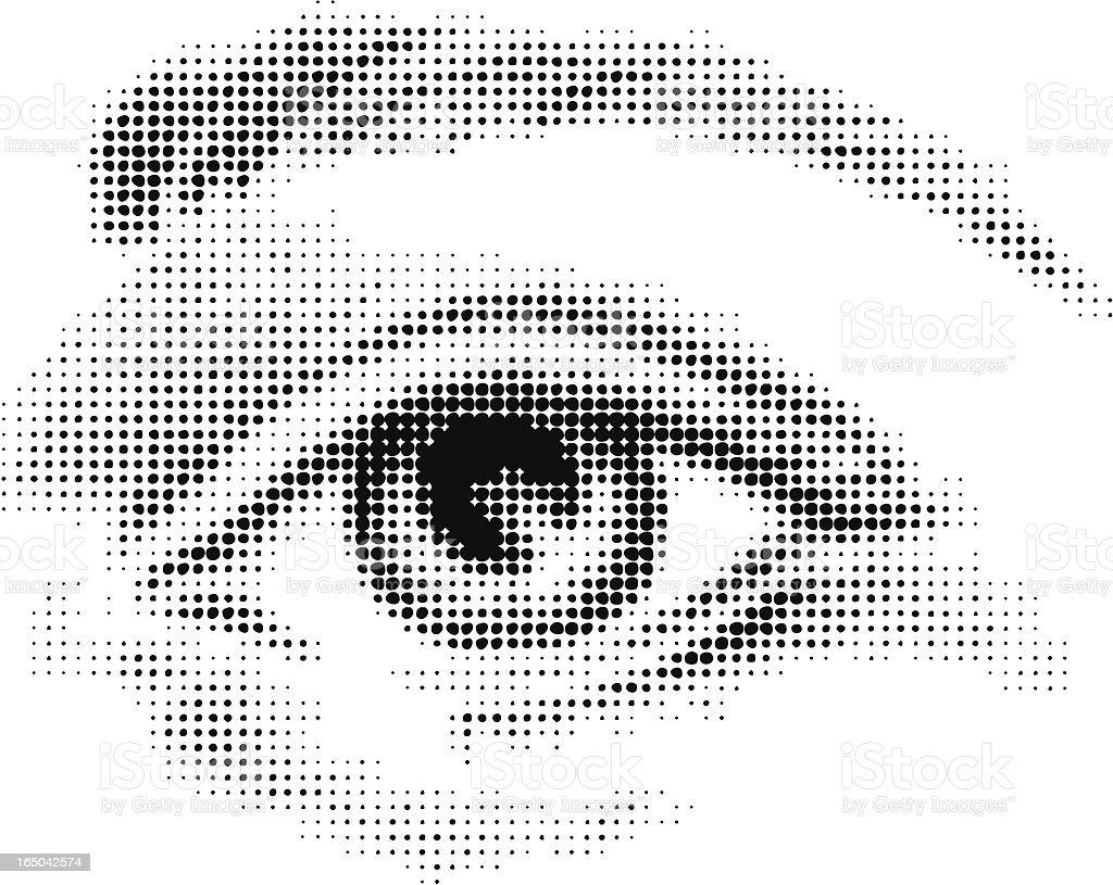 Halftone eye vector art illustration