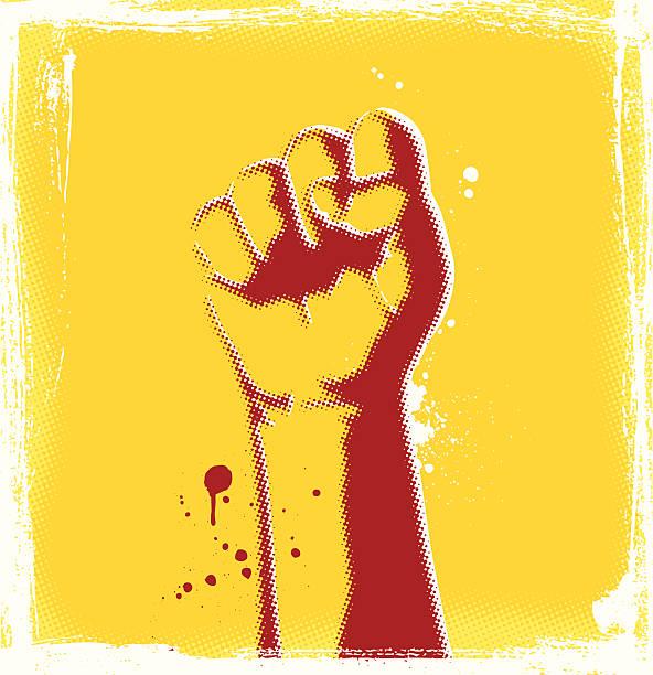 Halftone Fist Halftone fist illustration and grunge background. silk screen stock illustrations