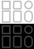 Halftone Square, Rectangular, Round Shapes Frames in Vector. Dotted Background