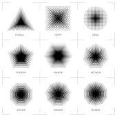 Halftone geometric shapes, Dot pattern, abstract background. Set design elements square, circle, triangle, pentagon, hexagon heptagon octagon nonagon decagon. Dotwork vector illustration