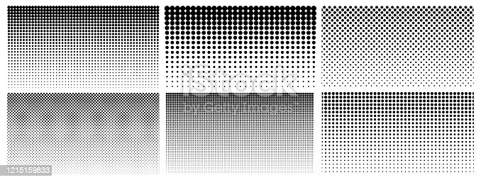 istock Halftone gradient. Dotted gradient, smooth dots spraying and halftones dot background seamless horizontal geometric pattern vector template set 1215159833