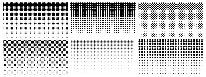 Halftone gradient. Dotted gradient, smooth dots spraying and halftones dot background seamless horizontal geometric pattern vector template set