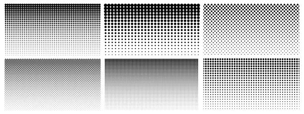 Halftone gradient. Dotted gradient, smooth dots spraying and halftones dot background seamless horizontal geometric pattern vector template set Halftone gradient. Dotted gradient, smooth dots spraying and halftones dot background seamless horizontal geometric pattern vector template set. Abstract dot gradient halftone pattern illustration spotted stock illustrations