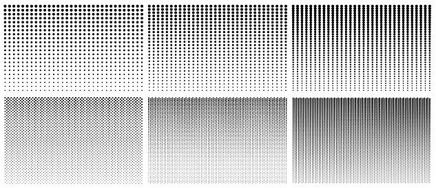 Halftone gradient pattern. Texture with dot gradation. Black halftone gradient pattern with fade on white background. Big graphic geometric poster. Monochrome retro wallpaper. Design element. Vector