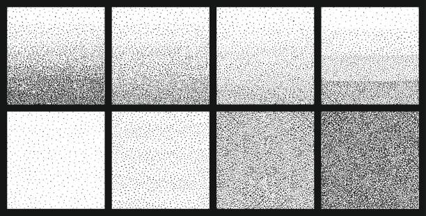 illustrazioni stock, clip art, cartoni animati e icone di tendenza di halftone gradient with random dots. abstract monochrome pointillist, speckled background set. texture with randomly disposed spots. vector illustration. - puntinismo