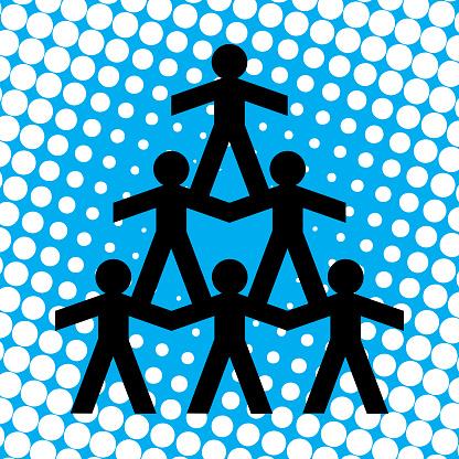 Halftone Human Pyramid icon