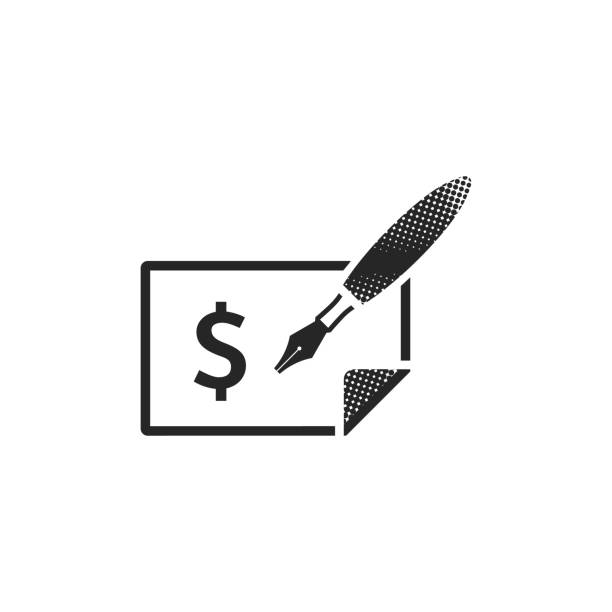 Halftone Icon - Check Check icon in halftone style. Black and white monochrome vector illustration. budget patterns stock illustrations