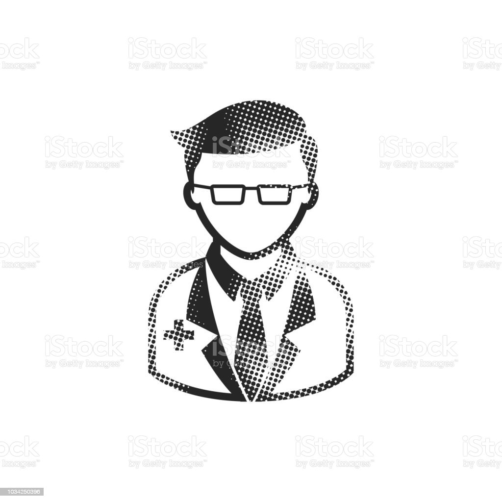 Doctor icon in halftone style. Black and white monochrome vector...