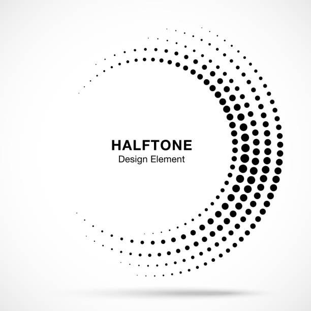 半色調不完整的圓框架點標誌隔離在白色背景。用於處理、技術的圓形部件設計項目。半圓邊框圖示使用半色調圓點紋理。向量 - 不完整 幅插畫檔、美工圖案、卡通及圖標
