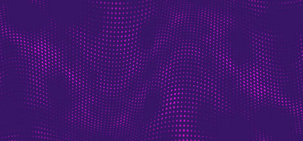 bildbanksillustrationer, clip art samt tecknat material och ikoner med halvton musik våg på lila bakgrund. prickig vibrerande konsistens för tapeter, musik affisch, flyer. - purpur