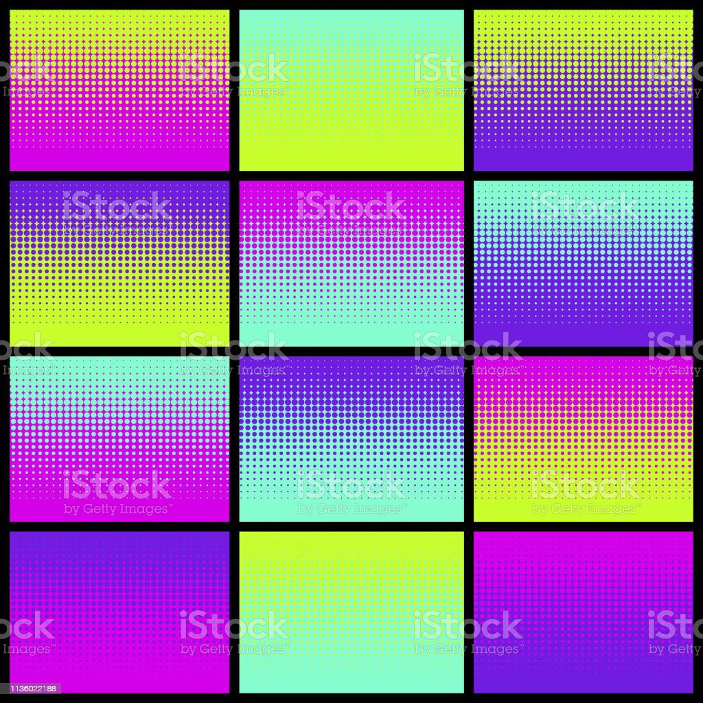 Halftone Neon Color Swatches vector art illustration