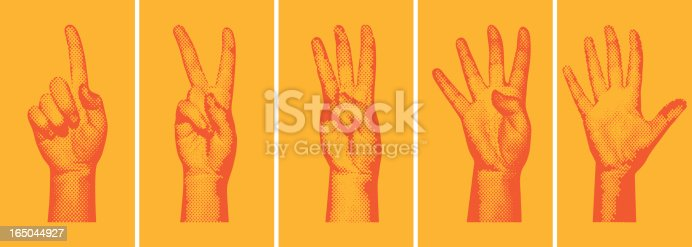 AI8, EPS, High-Resolution JPG, and layered PSD (version 5.5) included. Halftone hands forming the numbers one through five, with a silkscreen/pop-art/grunge sort of feel. Background on a separate layer for easy removal. Great for Flash animation countdowns.