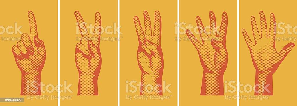 Halftone Number Fingers向量藝術插圖