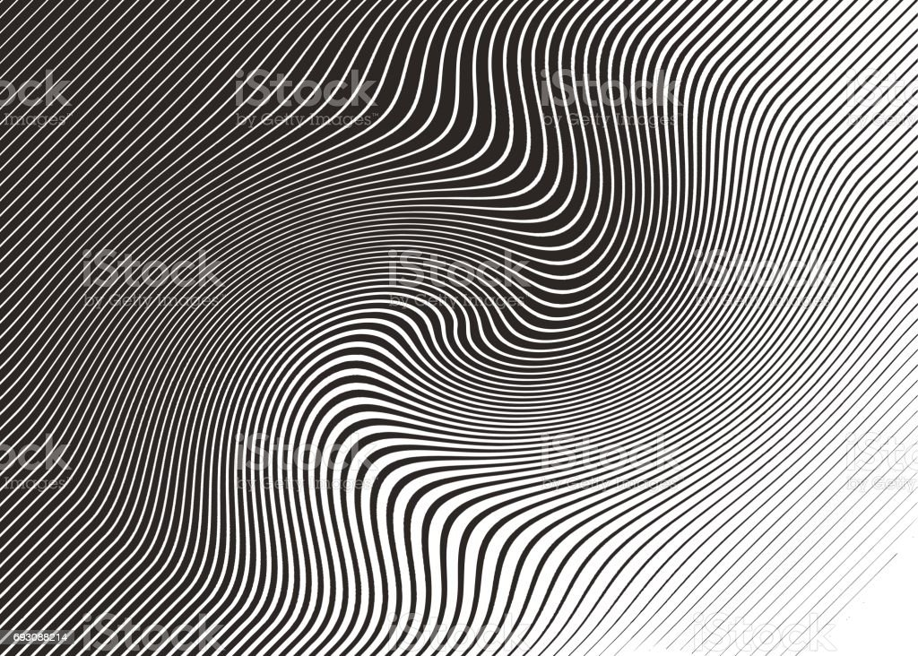 Halftone Pattern, Abstract Background of rippled, wavy lines vector art illustration