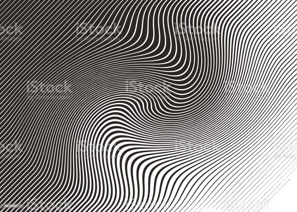 Modèle de demi-teintes, Abstract Background des lignes ondulées, ondulés - Illustration vectorielle