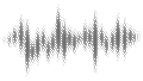 Halftone pattern audio waveform. Sound wave spectrum. Modern design rhythm of heart. Abstract dotted ornament isolated on white background.
