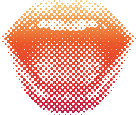 Halftone Pattern Lips Laughing and Smiling
