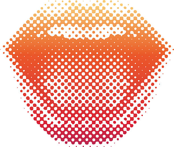 Halftone Pattern Lips Laughing and Smiling Halftone pattern retro, pop art illustration of a mouth laughing and smiling. good news stock illustrations
