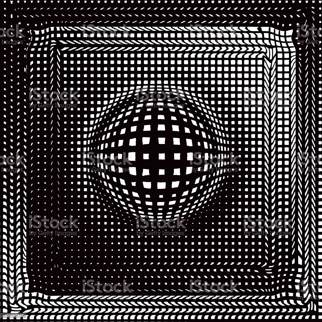 Halftone Pattern of Checkered Sphere Set Into Checked Background vector art illustration