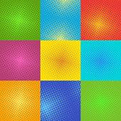 Halftone pop art background vector illustration. Pop art retro background background. Retro pop art background design graphic pattern. Halftone color dot cartoon background.