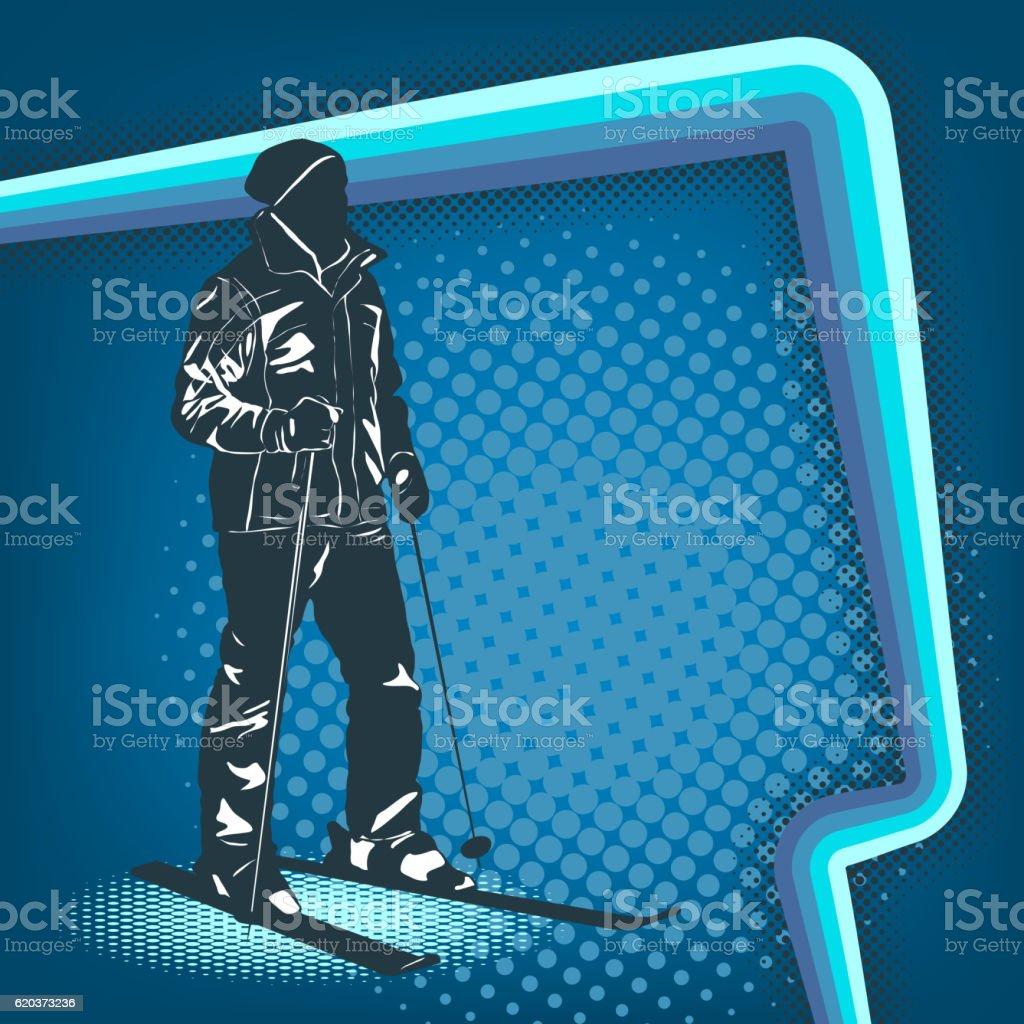 Halftone retro style background with a skier halftone retro style background with a skier - stockowe grafiki wektorowe i więcej obrazów 1980-1989 royalty-free