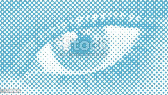 istock Halftone Retro Vector, Close-up of a woman's eye 165552806